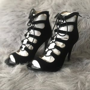 Women's Black Caged Lace-Up Open Toe Heels